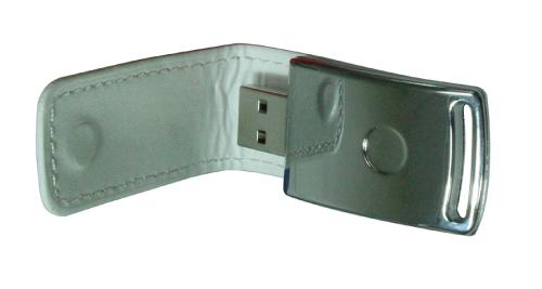 Stylish Leather USB Flash 8GB White