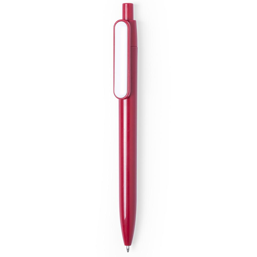 basic colored plastic pen with white clip - hmi20280-04 (Red)