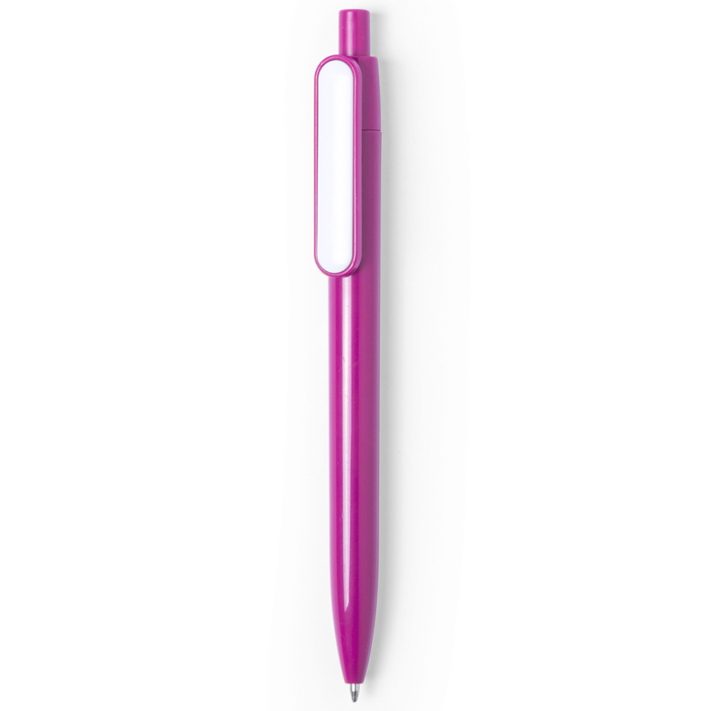 basic colored plastic pen with white clip - hmi20280-06 (Pink)