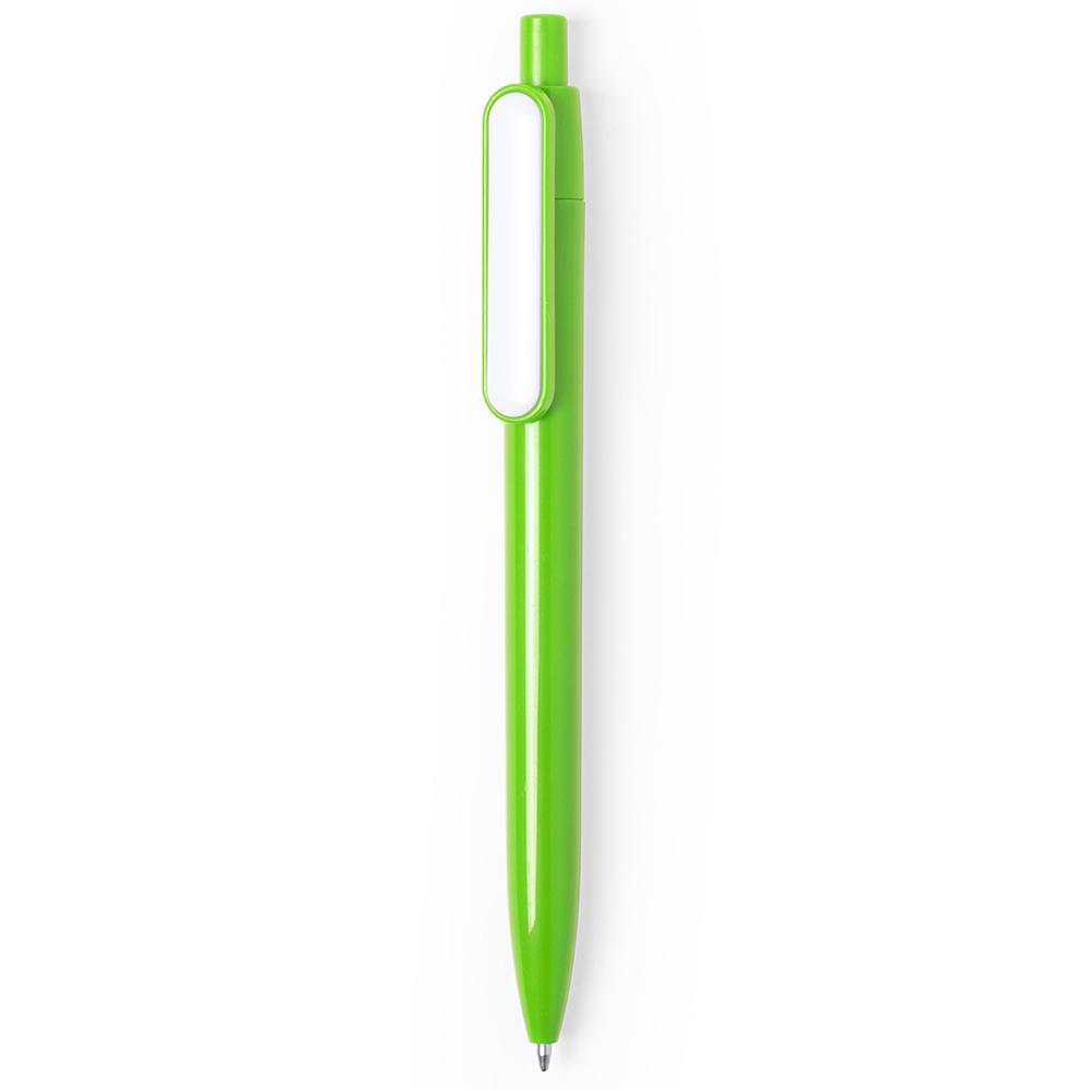 basic colored plastic pen with white clip - hmi20280-09 (Green)
