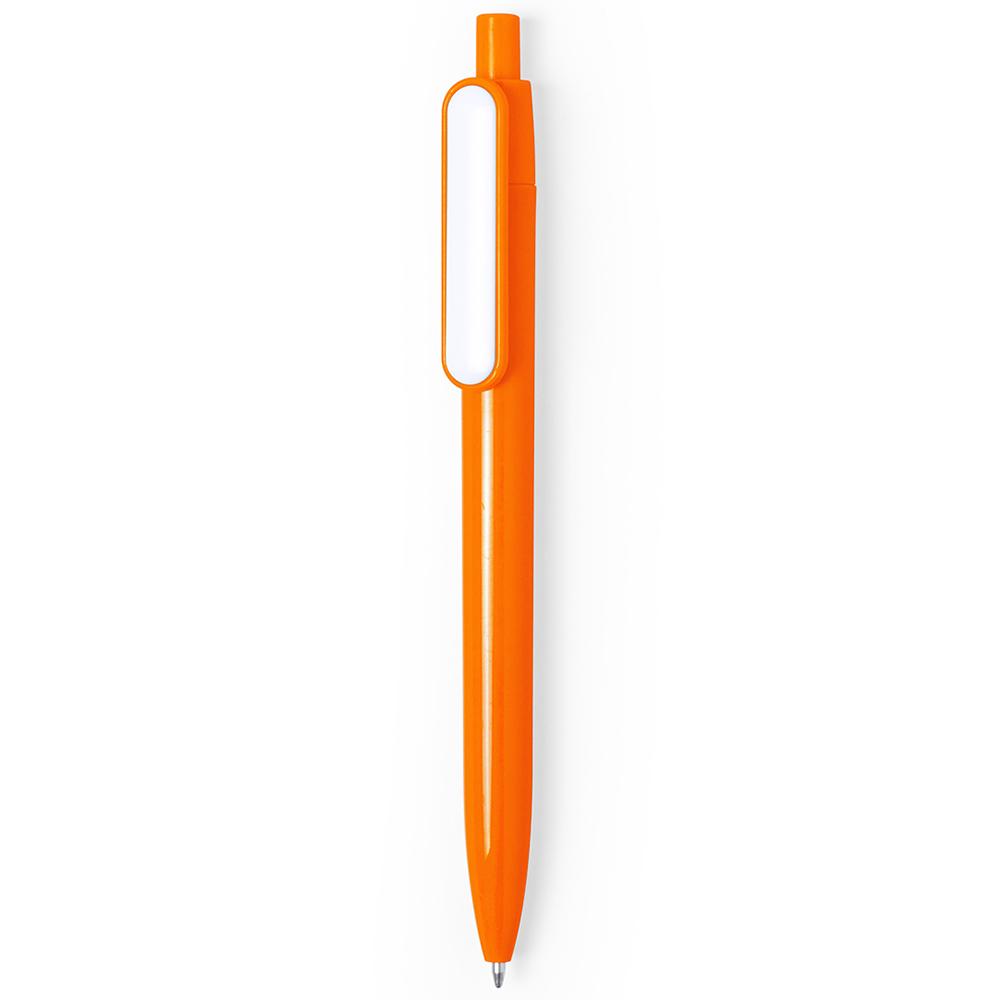 basic colored plastic pen with white clip - hmi20280-11 (Orange)