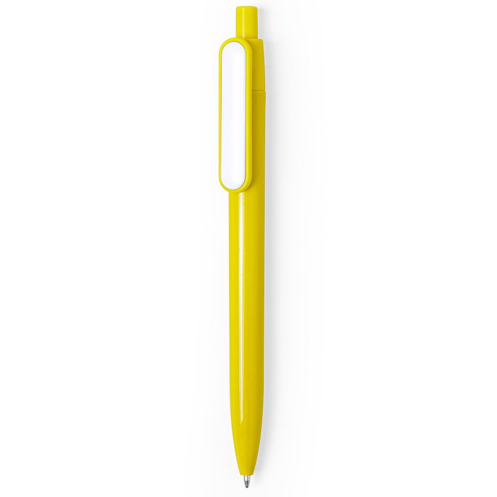 basic colored plastic pen with white clip - hmi20280-12 (Yellow)